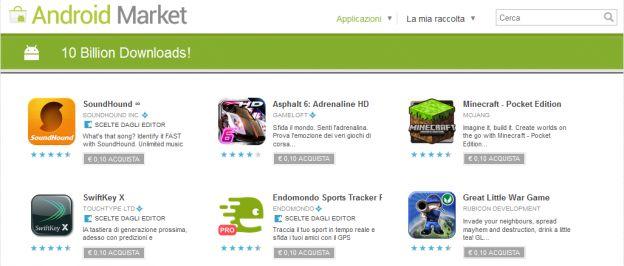android market 10 miliardi download
