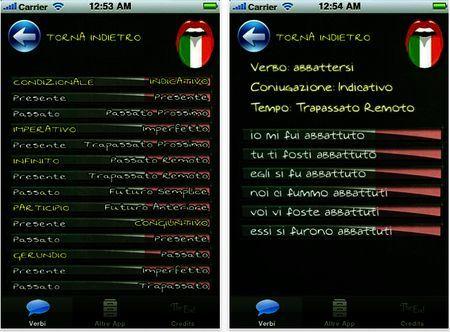 applicazione iphone coniugare verbi