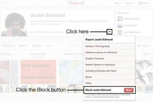 bloccare utenti pinterest