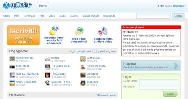 blog splinder servizio web chiusura
