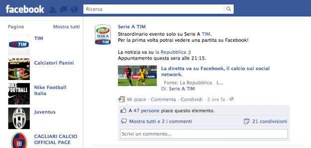 calcio streaming facebook