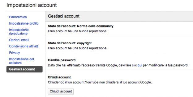 cancellare iscrizione youtube