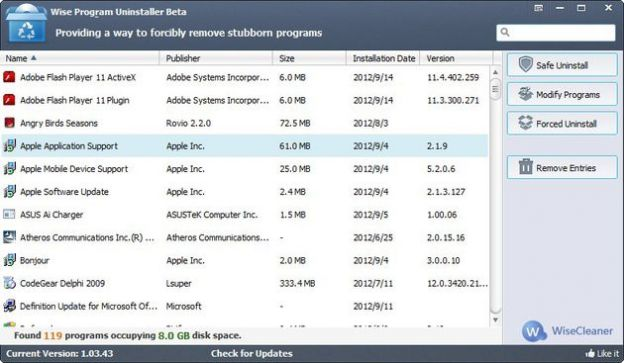 disinstallare programmi windows wise
