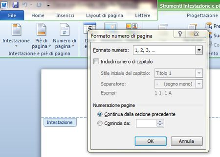 documenti word numeri pagina