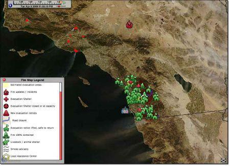 earthbrowser screenshot incendi sandiego