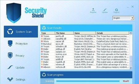 eliminare security shield