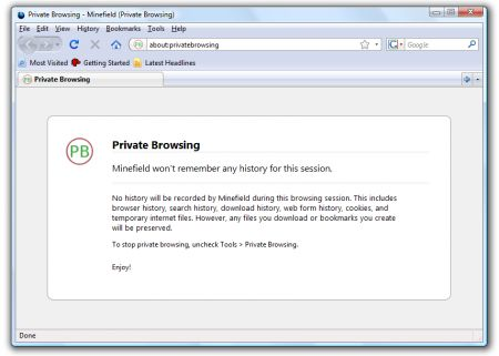 Firefox nightly build private browsing