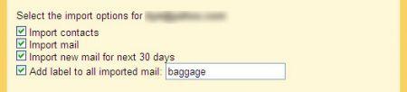 importare dati su gmail