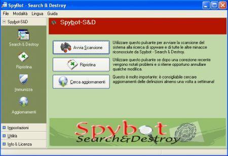 Interfaccia Spybot-S&D