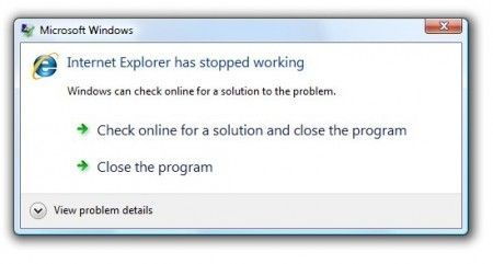 internet explorer crash blocco