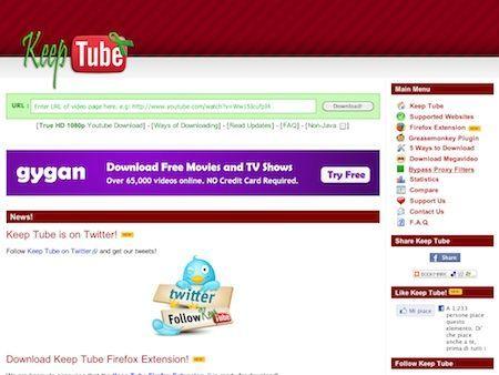 Keep Tube permette di scaricare facilmente video da YouTube e siti simili