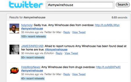 morte amy Winehouse twitter