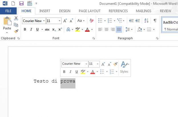office 2013 trucchi mini toolbar