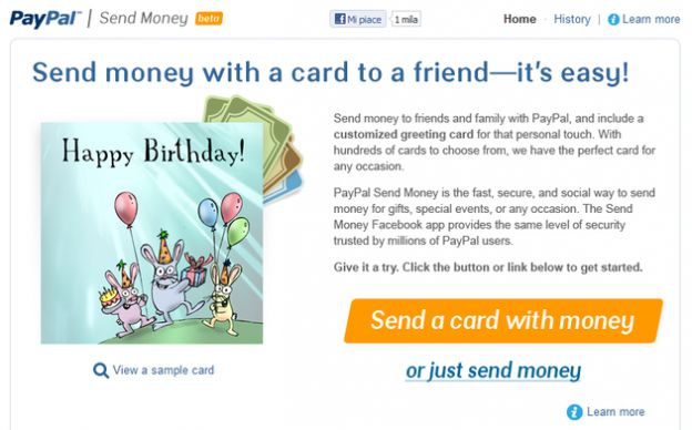 paypal facebook applicazione send money