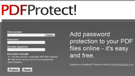pdfprotect pdf protetti da password