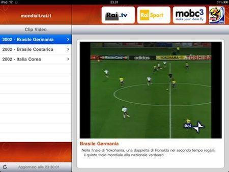 RaiMondiali Plus permette di seguire in streaming, in diretta e non solo, le partite del Mondiale su iPad