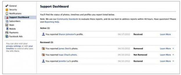 sicurezza facebook dashboard supporto