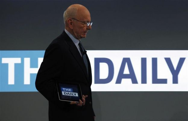 News Corp CEO Rupert Murdoch arrives to unveil News Cooperation's new iPad news publication