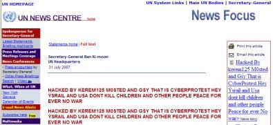 Screenshot del messaggio degli hacker