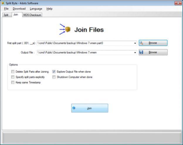 unire file dividere split byte