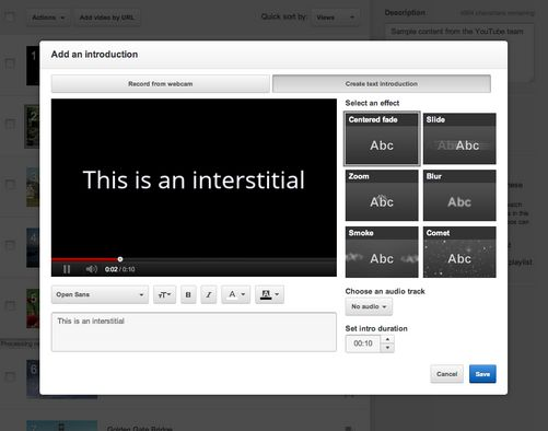 video youtube intro