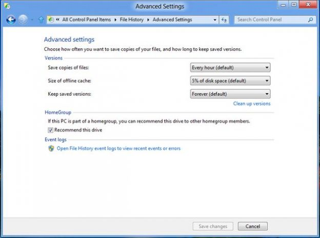 windows 8 backup file history