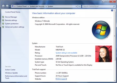 windows 7 oem info
