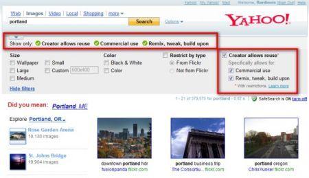 yahoo image search ora permette di selezionare i CC