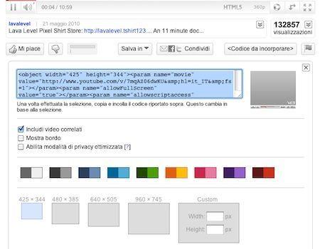 Dimensione personalizzata per i video di YouTube inseriti nei siti