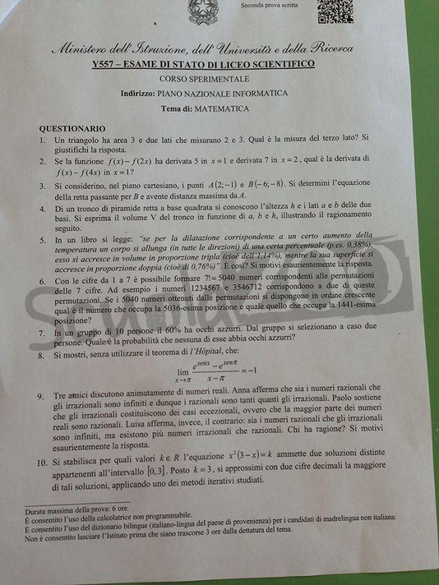 Esami maturità 2013 questionario matematica pni