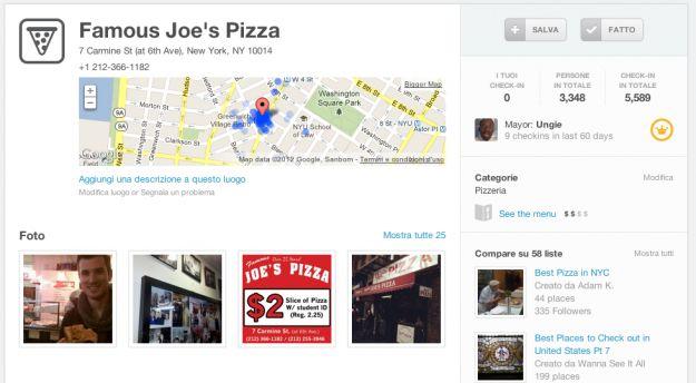 Foursquare porta sui Social Network i menu dei ristoranti