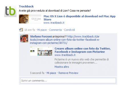 I Commenti Facebook adesso disponibili con anteprima dei link