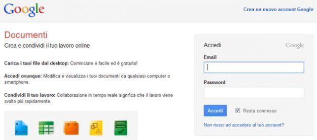 accedere google docs