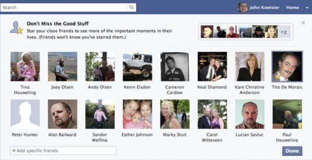 Amici su Facebook, quelli più importanti si indicano con una stella
