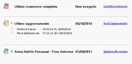 antivirus gratis antivir aggiornamento