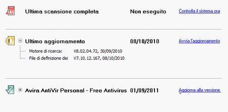 antivirus gratis antivir aggiornamento