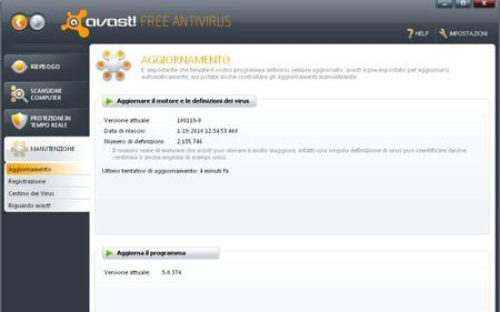antivirus gratis avast aggiornamento