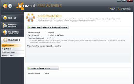 antivirus gratis avast aggiornamento