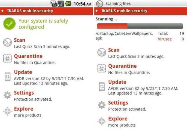 Un'app su Android per la sicurezza del sistema: Ikarus mobile.security LITE