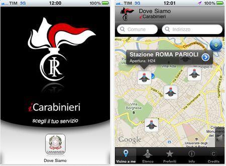 App iPhone: ricerca e contatti delle caserme dei Carabinieri