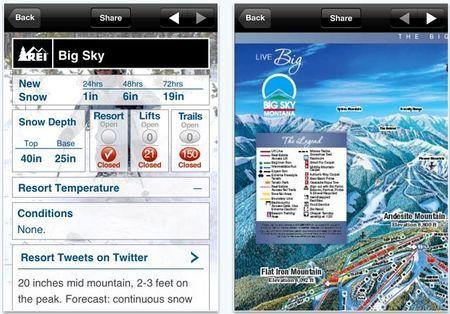 App iPhone vacanze: Snow and Ski report per quelle sulla neve