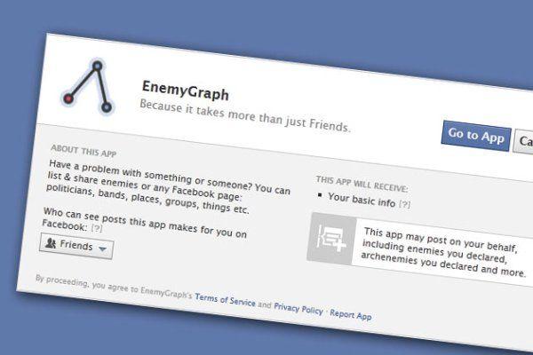 Applicazioni Facebook: EnemyGraph per creare la lista dei nemici