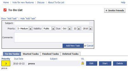 applicazioni facebook to do list