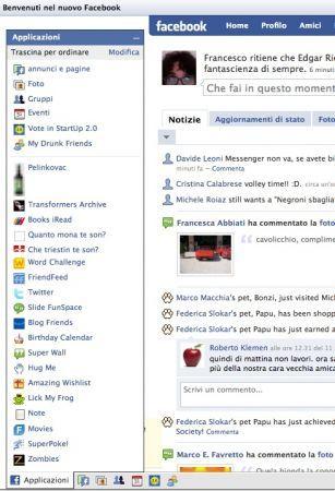 facebook, applicazioni nuova posizione