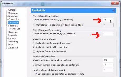 bandwidth utorrent
