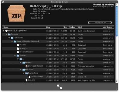 BetterZip consente a Quick Look di Leopard di vedere anche negli archivi compressi