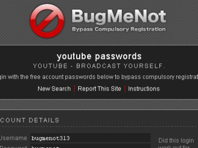 BugMeNot &#8211; Come entrare nei siti che richiedono una registrazione senza registrarsi