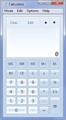Calcolatrice Windows 7 modalità standard