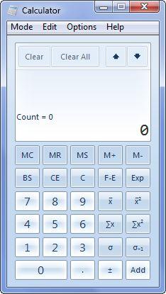Calcolatrice Windows 7 modalità statistica