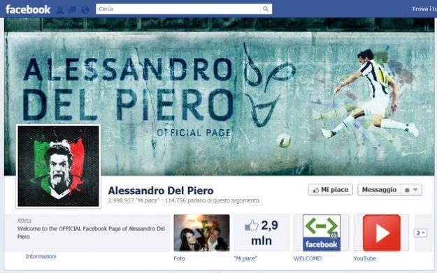 Calcio su Facebook, i messaggi di Del Piero per salutare i tifosi